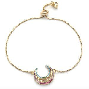 I Love You To The Moon Heart CZ Gold Bracelet